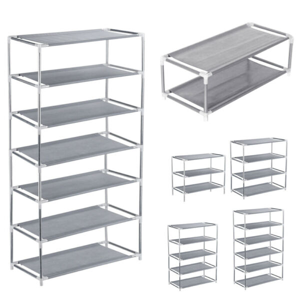 3 4 5 6 7 Tier Metal Shoe Rack Organizer Shelf Stand Wall Bench Closet Storage