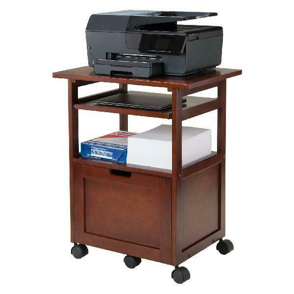 Mobile Printer Cart Wood Laptop Stand Wheels Office Workstation File Storage NEW