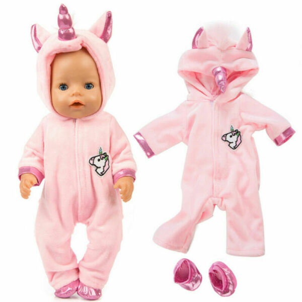 1PC Girl Dolls Unicorn Jumpsuit Doll Clothes Outfit with Shoes Baby Dolls Decor