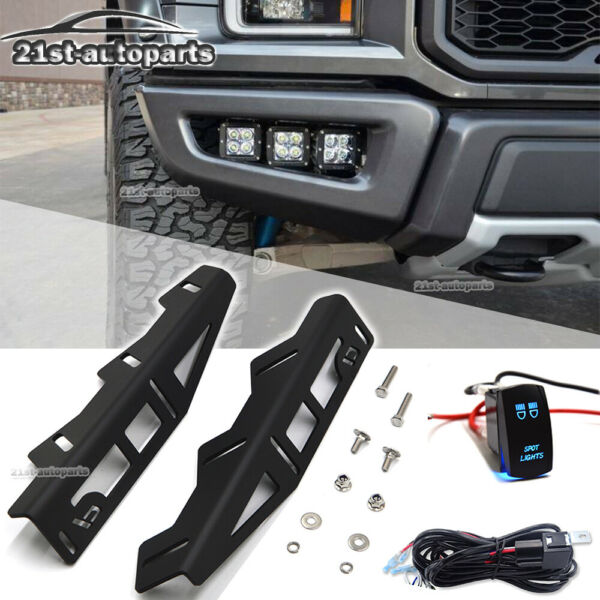 Triple Fog Light Hidden Bumper Mount Switch Wire Kit For 17-UP Ford F150 Raptor