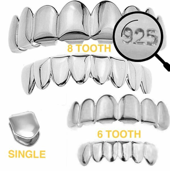 Real 925 Sterling Silver - GRILLZ Top Bottom Hip Hop Grills 6 8 Or Single Teeth