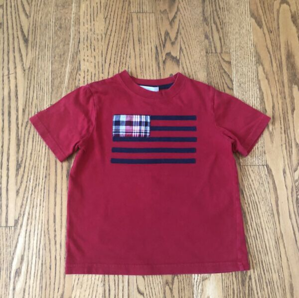Janie and Jack Red Appliqué Flag 4th of July T-Shirt Size 3T EUC