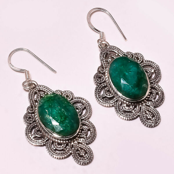 FACETED SAKOTA MINES EMERALD 925 STERLING SILVER EARRING 1.75