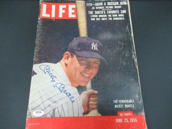 Mickey Mantle Siged Life Magazine Autograph Auto PSADNA AH50203