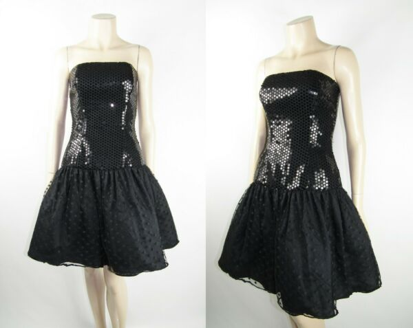 Vintage 80s Black Corset Sequins Pouf Skirt Strapless Formal Prom Cocktail Dress