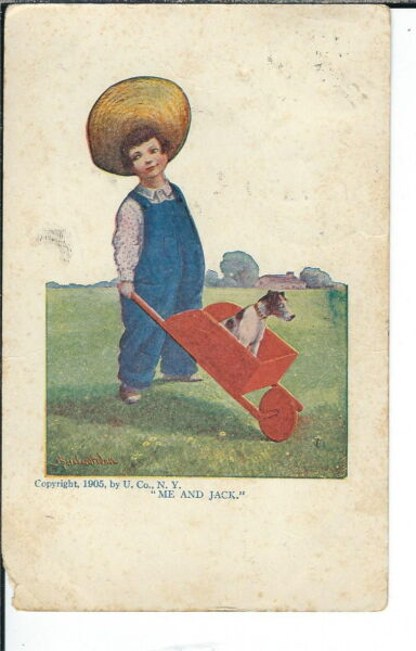 AX-134 - Me and Jack Artist Signed by Bernhardt Wall Golden Age Postcard Vntg