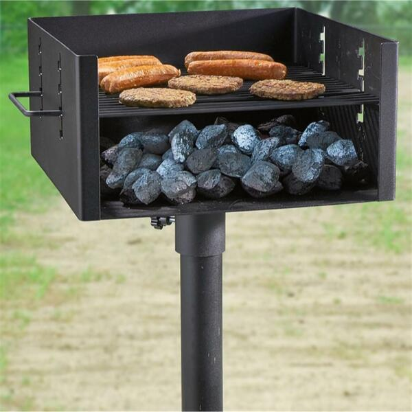 Heavy Duty Single Post Park Style Grill Charcoal BBQ Cooking Adjustable Grate