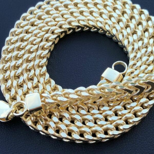 Real Men#x27;s Franco Box Hollow Chain 14K Gold Over Solid 925 Sterling Silver 4.5mm