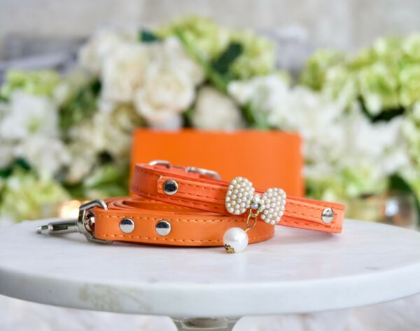 NEW Luxury Dog Collar amp; Leash Set Classic Designer Orange Pearl Enchanted Pets $55.00