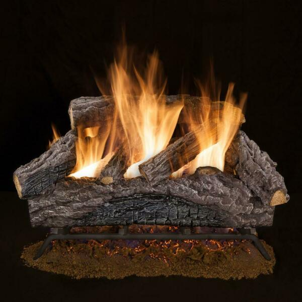 Emberglow 18 inch Charred Oak Dual Burner Vented Natural Gas Fireplace Log Set