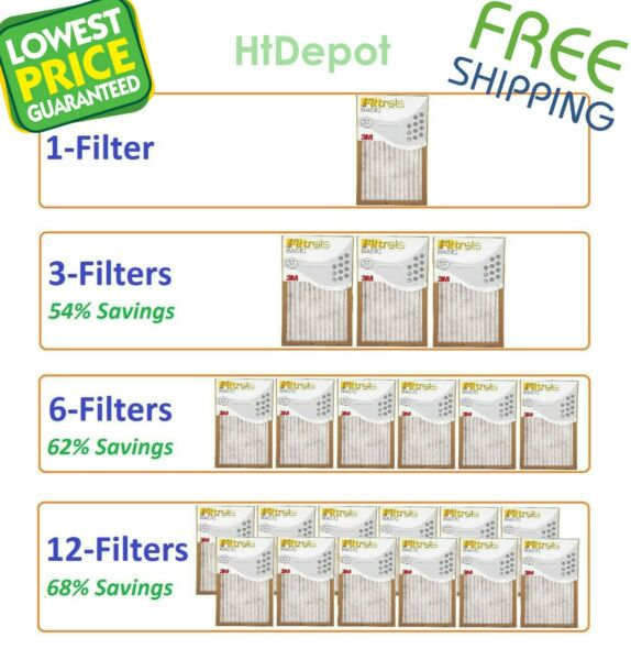 Filtrete Basic Air Filter Pleated Furnace Replacement Pad Dust Pack Lot 3M 6 12 $32.75