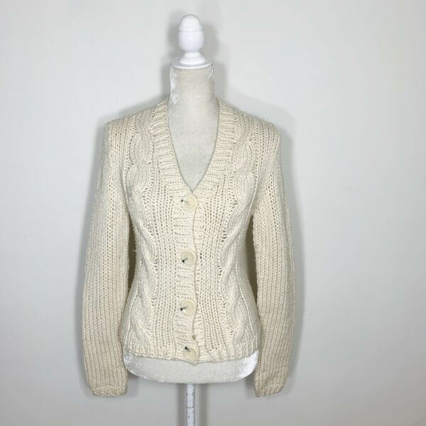 Express Cream Ivory White Chunky Cable Hand Knit Button Up Cardigan Sweater M