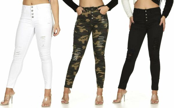 VIP Jeans High Rise Exposed Buttons Skinny Juniors Plus Distressed Denim