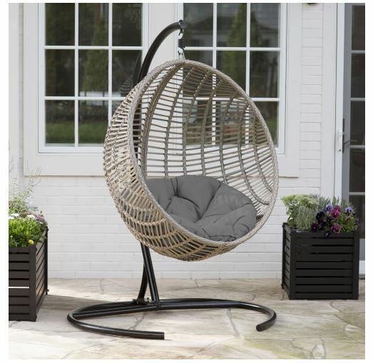 Egg Chair Indoor Outdoor Wicker Hanging Patio Swing Cushion Hammock Chair Stand