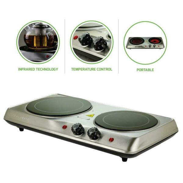 Countertop Stove Electric Double Burner Infrared Ceramic Plate Cooktop Portable