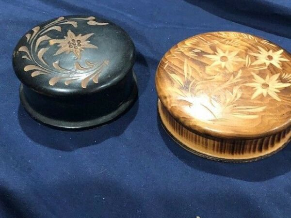 2 POLISH PYROGRAPHY CARVED WOOD BOXES ROUND FLORAL IMAGERY