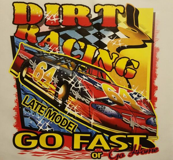 OUTFITTERS DIRT TRACK LATE MODELS RACING GO FAST SHIRT #1435 $13.99