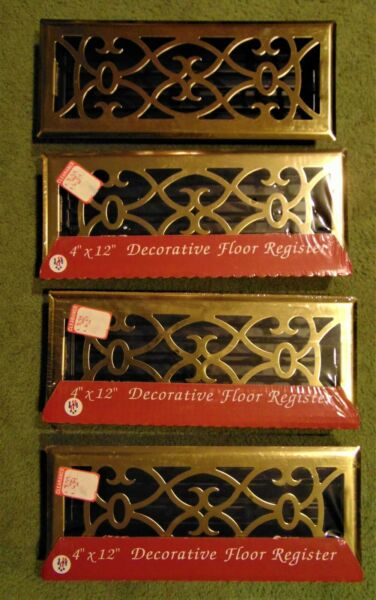 4 BRIGHT BRASS DECORATIVE FLOOR REGISTERS ~ 4