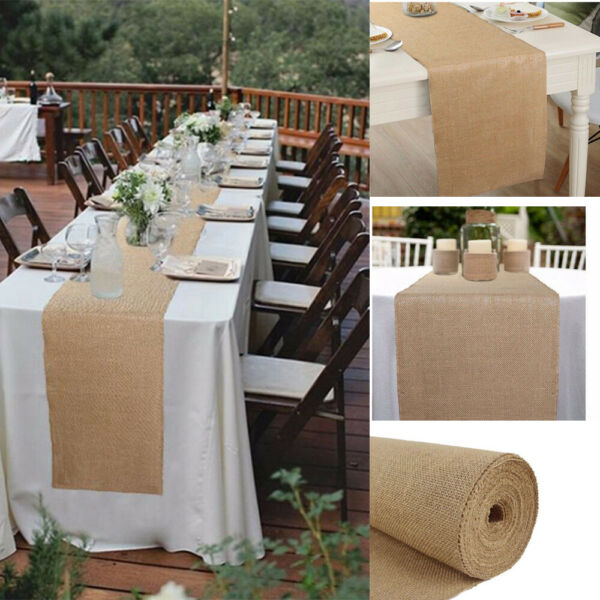 14quot; x 32FT Long Jute Burlap Table Runner Linen Wedding Party Banquet Event Craft
