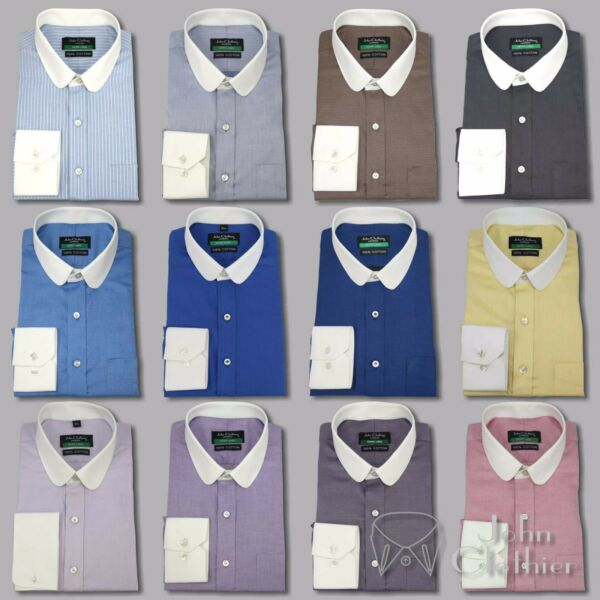Banker shirt for Men Penny White collar and cuff Club Peaky Blinders Round Gents