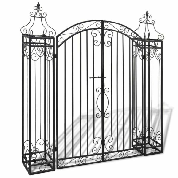 Heavy Duty Wrought Iron Metal Arched Scroll Tall Garden Gate Strength Dual Gates