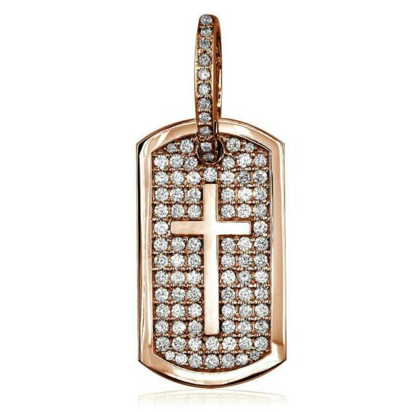 Diamond Dog Tag Pendant with Cross Symbol 3.20CT in 14K Pink Rose Gold