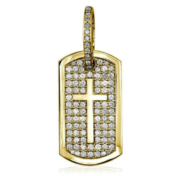 Diamond Dog Tag Pendant with Cross Symbol 3.20CT in 14K Yellow Gold