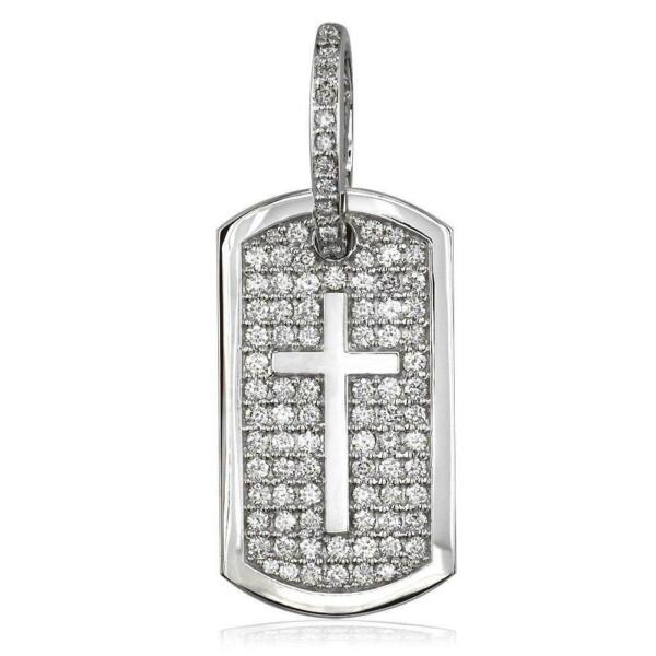 Diamond Dog Tag Pendant with Cross Symbol 3.20CT in 14K White Gold