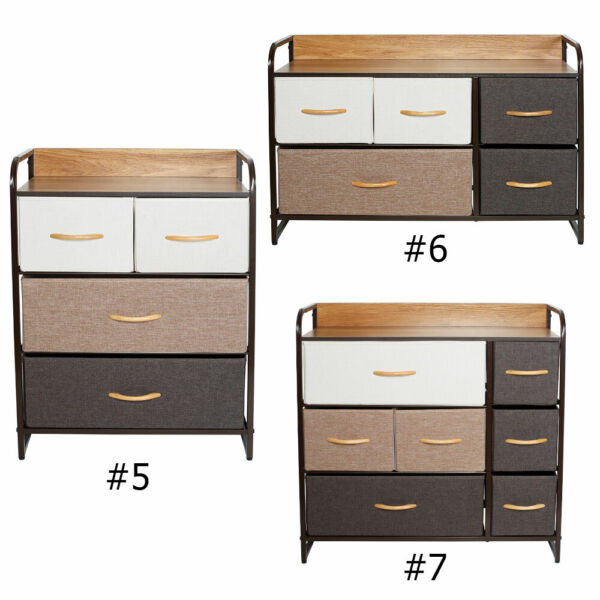 Fabric Dresser Chest 3 4 5 Drawers Furniture Bedroom Storage Organizer Wood Top $59.99