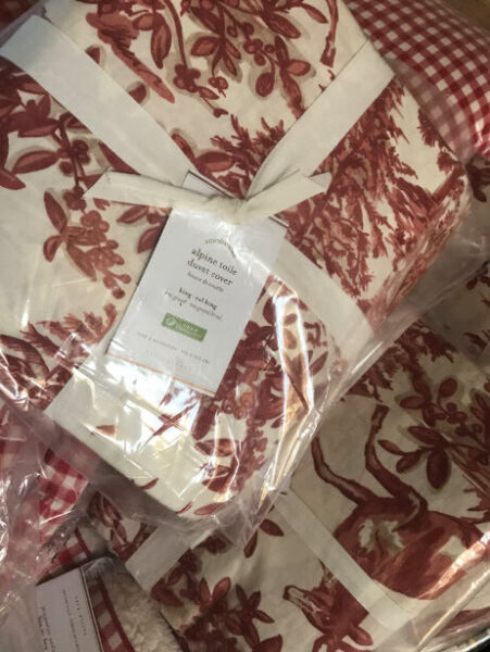 Pottery Barn Alpine Toile Duvet Cover Red King Christmas Deer Holiday No Shams $103.33