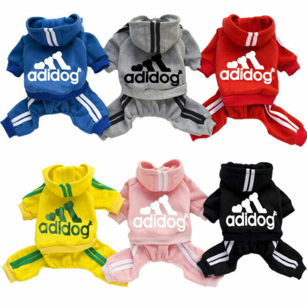 Adidog Dog Hoodie 4 Legs Jumpsuit Puppy Hoodies Coat Sweatshirt Sports Outfits $7.99