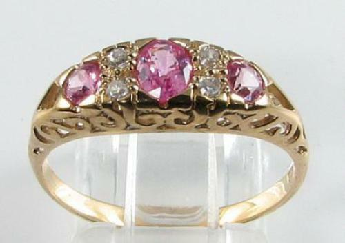 CLASS 9CT 9K GOLD PINK SAPPHIRE  DIAMOND ART DECO INS ETERNITY RING FREE SIZE