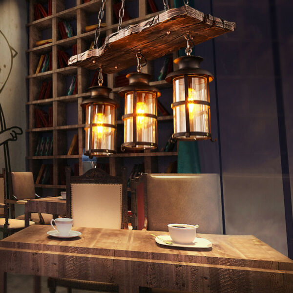 Rustic Wood 3 Heads Chandelier Industrial Ceiling Lamp Pendant Light Hanging $115.14