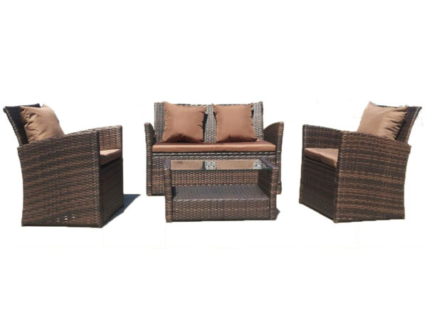 UFI 4pcs outdoor furniture Wicker Ratten Garden Sofa Cushioned and Table Brown $259.99