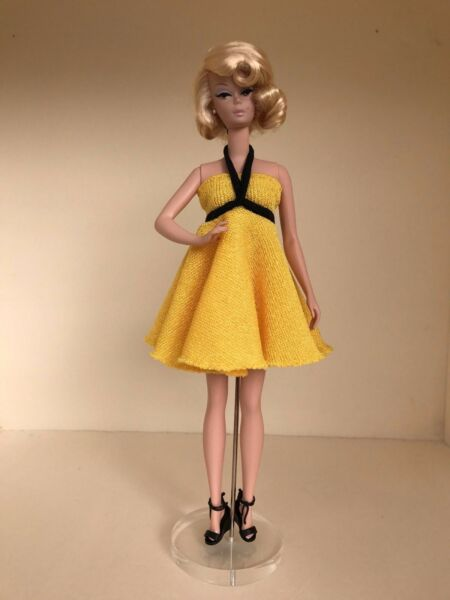 One-of-a-Kind Yellow Knit Halter Dress for 12-inch female fashion dolls NEW