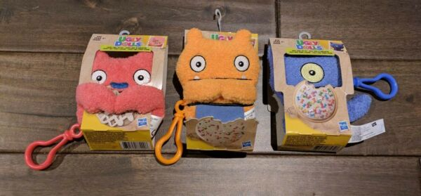 Lot 3 Ugly Dolls To Go Keychain Clip Plush Toy Lucky Bat Wage Ugly Dog To Go