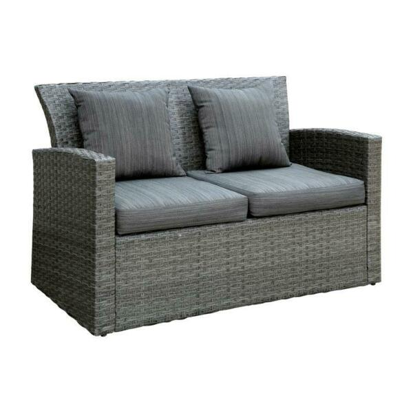 Furniture of America Vorelli Rattan Wicker Patio Loveseat with Cushions in Gray $577.99
