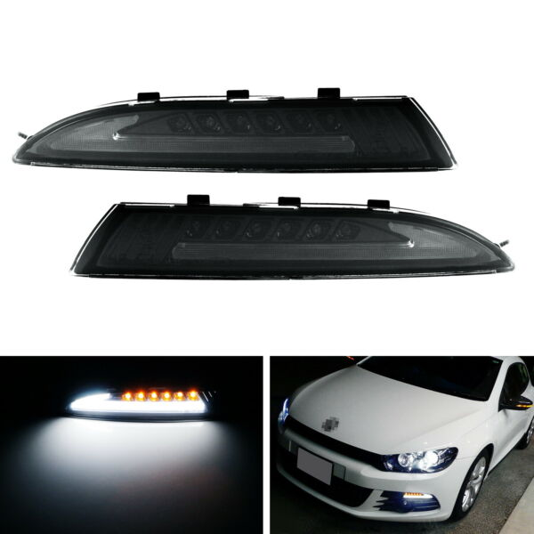Smoked Lens LED Daytime Light wSequential Turn Signals For 08-13 MKIII Scirocco