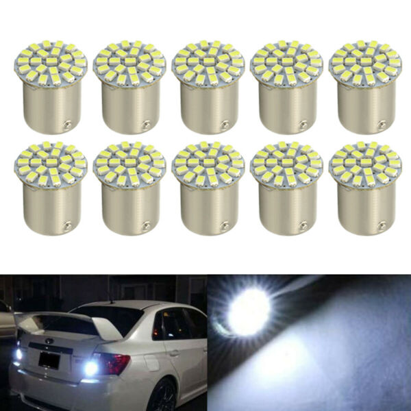 10Pcs LED Car Bulb 1156 BA15S 1206 22SMD Light Brake/Turn/Tail/Revese Lamp White