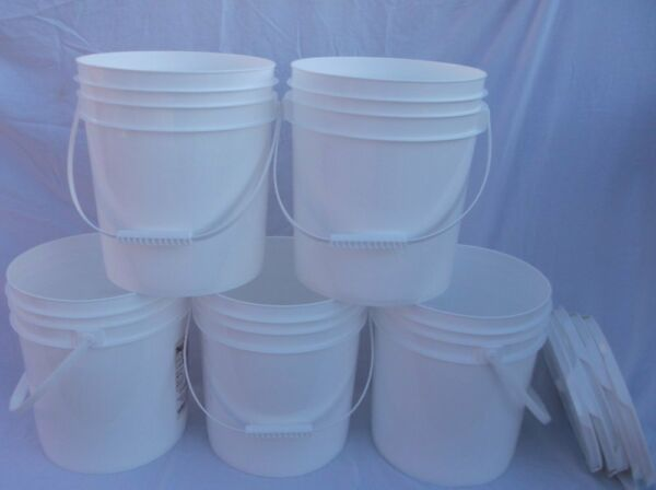 5 FOOD GRADE USED PLASTIC 4 GALLON ROUND BUCKETS PAILS W LIDS HANDLES FRE SHP RK