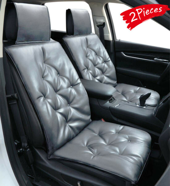 2X Soft Leather Car Seat Cover Cushion Premium Cotton Keep Comfortable Universal