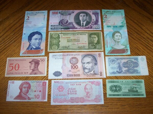 Lot of 10 Different World Bank Notes from Different Countries C2