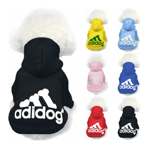 Adidog Dog Hoodie 2 Legs Jumpsuit Puppy Hoodies Coat Sweatshirt Sports Outfits $5.99