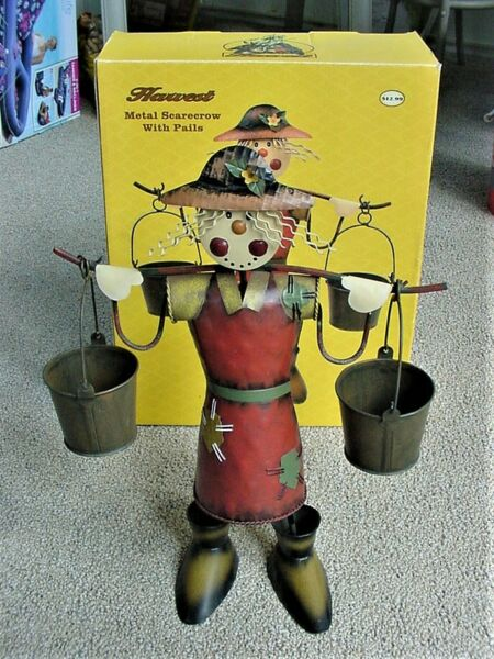 SCARECROW HARVEST RUSTIC METAL WITH PAILS FREE STANDING 16