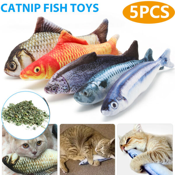 5 Pack Realistic Interactive Fish Cat Kicker Crazy Pet Toy Catnip Toys Gift $7.99