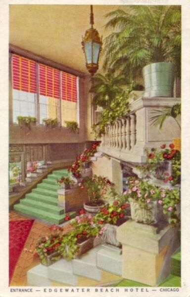 1951 ENTRANCE - EDGEWATER BEACH HOTEL - CHICAGO
