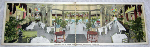 Vintage Dining Room Edgewater Beach Hotel Chicago IL Folding Postcard