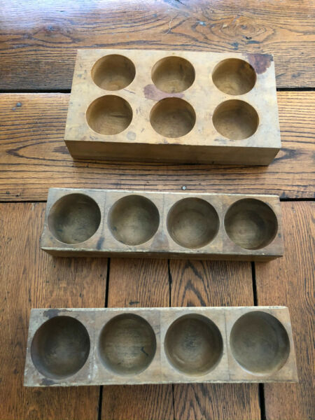 Antique Vintage Wood Bin Cup Parts Nut Bold Screw 4 and 6 Hole Holder