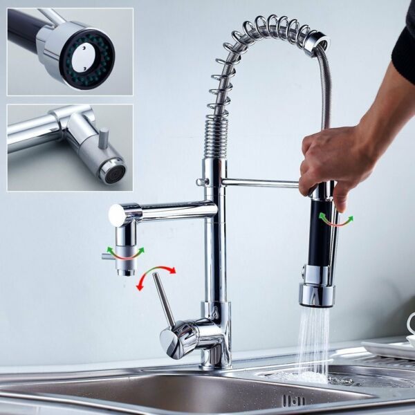 Tap Kitchen Sink Bath Shower Spout Swivel Industrial Espiral 2 en 1