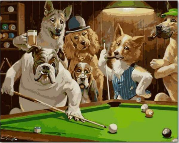 DIY Dogs Playing Pool Billiard Cassius Marcellus Coolidge Paint By Numbers Kit $21.84